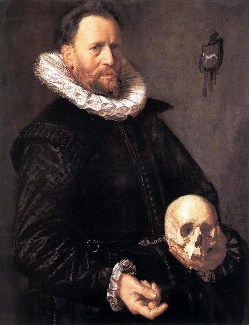 Frans Hals, Potrait of a man holding a skull