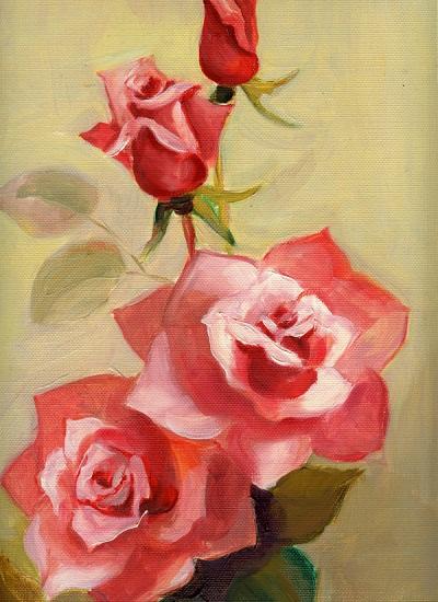 lukisan bunga mawar